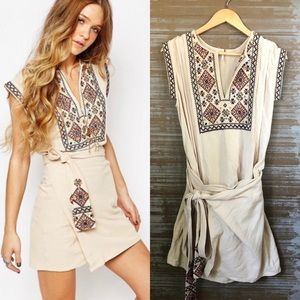 Free People Running Wild Embroidered Tie Dress